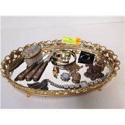 MIRRORED TRAY WITH ANTIQUE BRUSH AND MATCHING