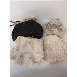 LOT OF 4 BEADED PURSES, EACH MADE IN A DIFFERENT