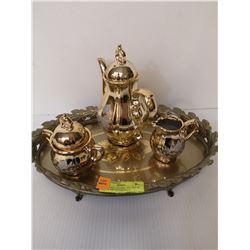 GOLD TONE CERAMIC TEA POT/ W CREAM AND SUGAR SOLD