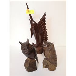 LOT OF HAND CARVED WOOD SCULPTURES FROM TAHITI