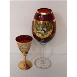 VENETIAN RUBY HAND PAINTED GOBLET AND MATCHING