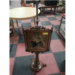 ANTIQUE HAND CARVED WOOD STAND WITH PICTURE