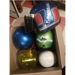 BOX OF 7PCS OF 1960'S MOTORCYCLE HELMETS WITH