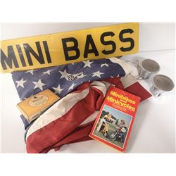 BOX OF AMERICAN FLAG, BRASS KNUCLES,CIGARETTE BOX