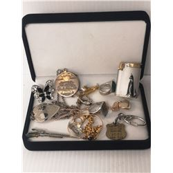 TREASURE CASE WITH ASSORTED JEWELRY AND BADGES