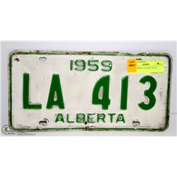 1959 ALBERTA LICENSE PLATE