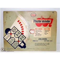1940S ESSO TRACTOR MINDER SIGN