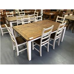 "7 PCS 44""W X 72""L X 30""H SOLID WOOD VINTAGE, WHITE WOOD TOP DINING TABLE SET WITH BUTTERFLY LEAF"