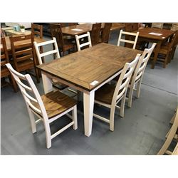 "7 PCS 36""W X 63""L X 30""H  SOLID WOOD VINTAGE, WHITE WOOD TOP DINING TABLE SET WITH BUTTERFLY LEAF"