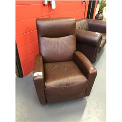 BROWN LEATHER ELECTRIC POWERED RECLINING ARM CHAIR