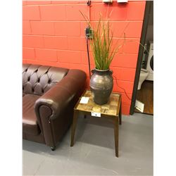 PAIR OF SIMON 20 W X 20 L X 22 H WOODEN INLAID SIDE TABLES WITH FAUX GRASS IN POT