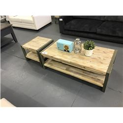"47""L X 24""D X 16""H GREY VINTAGE WHITE WOOD COFFEE TABLE WITH 20""L X 20""D X 16""H SIDE TABLE"