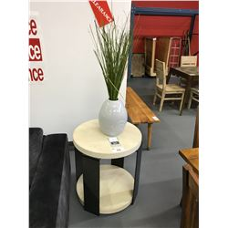 27 W X 27 H ROUND MODERN VINTAGE WHITE SIDE TABLE WITH FAUX GRASS IN POT