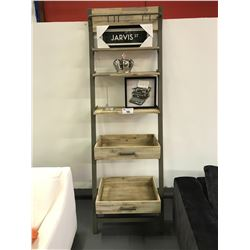 28 W X 20 D X 83 H 5 TIER GREY METAL & WOOD TILTED SHELVING UNIT WITH ASSORTED DECOR ITEMS
