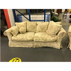 CREAM FABRIC 2 SEAT PILLOW BACK DEEP SEAT SOFA WITH OVERSIZED ARM CHAIR