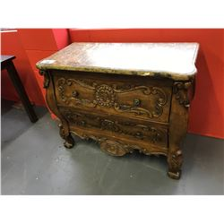"""41""""W X 19""""D X 33""""H STONE TOP CLAW FOOT 2 DRAWER HALL CABINET"""