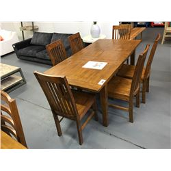 7 PCS 35 W X 71 L X 31 H  SOLID WOOD NAPLES COLLECTION DINING TABLE SET WITH BUTTERFLY LEAF