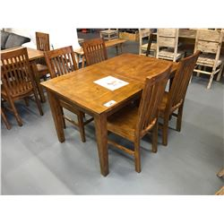"5 PCS 35""W X 71""L X 31""H  SOLID WOOD NAPLES COLLECTION DINING TABLE SET WITH BUTTERFLY LEAF"