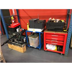 RED MOBILE TOOL BOX & 2 SHOP CARTS WITH TOOL CONTENTS