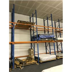 7 - 18 FT BLUE DOUBLE DEEP PALLET RACKING UPRIGHT, 1 - 13 FT DOUBLE BLUE DEEP PALLET RACKING