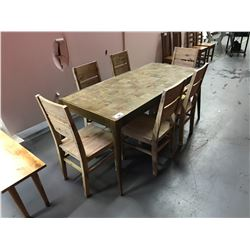 """7 PCS 32""""W X 71""""L X 31""""H SOLID WOOD SIMON COLLECTION INLAID DINING TABLE SET INCLUDING: TABLE & 6"""
