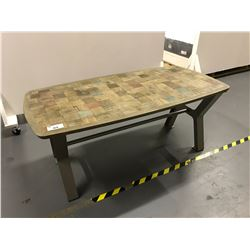 """36""""W X 71""""L X 31""""H SIMON COLLECTION INLAID DINING TABLE TOP WITH GREY METAL BASE"""