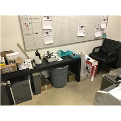 CONTENTS OF SALES OFFICE, INCLUDING PRINTERS, TWO DESKS, DANBY BAR FRIDGE, MONITOR & CHAIR
