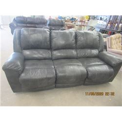 Grey Leather Reclinging Couch