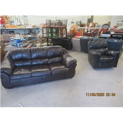 2 PC Leather Couch & Swivel Leather LR Chair