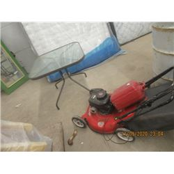 """Patio Table & MTD 21"""" 3.5 HP Push Mower w Bagger & Gas Can"""