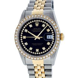 Rolex Mens 2 Tone Black String VS Diamond Datejust Wristwatch 36MM