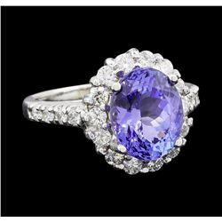 3.85 ctw Tanzanite and Diamond Ring - 14KT White Gold