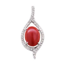 4.55 ctw Red Coral and Diamond Pendant - 14KT White Gold