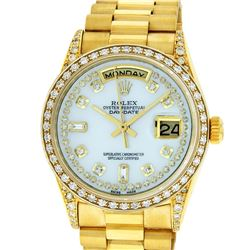 Rolex Mens 18K Yellow Gold MOP String Diamond President Wristwatch With Rolex Bo