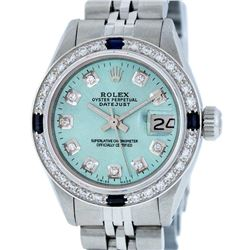 Rolex Ladies Stainless Steel Ice Blue Diamond & Sapphire Oyster Perpetual Dateju
