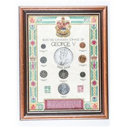 Coinage of George V Framed, 8 Coins, Stamps  Silver Years 11x14
