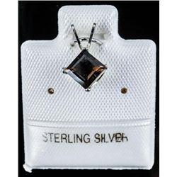 925 Sterling Silver Genuine Smokey Quartz,  Princess Cut Pendant (60cts)