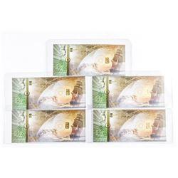 Lot (5) 24kt Gold .9999 Fine Bars, Inset on  Cash Gold Note