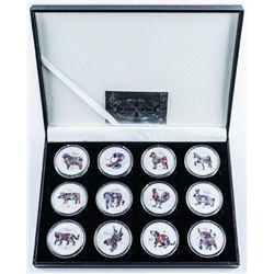 Lunar Calendar Animals 12 Coin Collection  with C.O.A.