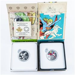 Lot (2) RCM / DC Comics and looney Tunes .999  Fine Silver $10.00 Coins