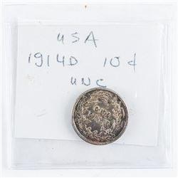 USA 1914D Silver 10 Cent UNC