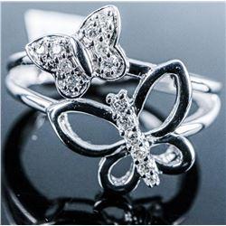 925 Silver Diamond Ring. Size 6