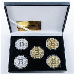 Bitcoin 5 Medallion Collection 3x Gold Plated  and 2x Silver Plated