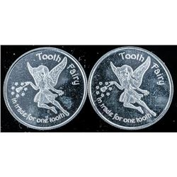 Lot (2) Tooth Fairy Coin. .999 Fine Silver.