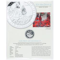 J.E.H MacDonald (1873-1932) .999 Fine Silver  $20.00 Coin Proof, Mintage 7000 with Display  Card