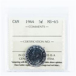 Canada 1944 5 Cents MS-65 ICCS