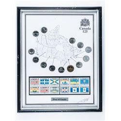 CANADA 125 Collector Frame, Coins, Flag  stamps