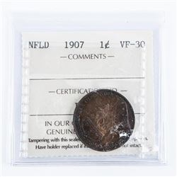 NFLD 1907 Large Cent VF30 ICCS