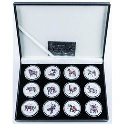 Group of (12) .999 Fine Silver Plated Animal  Zodiacs with C.O.A.