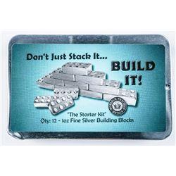 Bullion Builder - 'Lego Like' Stacking Silver  Bricks, Starter Kit (12) 1oz .999 Fine  Silver Bricks